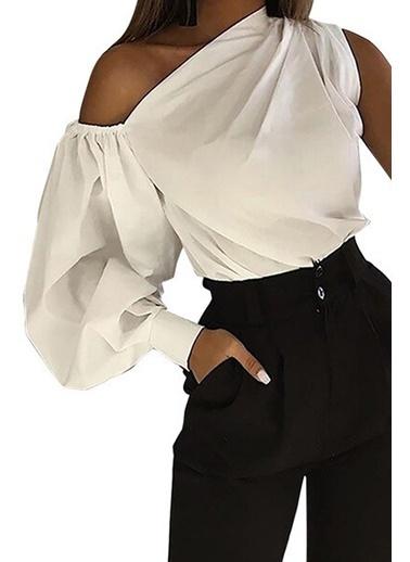 BLACK&GRACE Siyah Omuz Detaylı Balon Kollu Bluz Beyaz